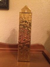 New listing Vintage Hammered Brass Fireplace Match Holder 1970s Made in Usa
