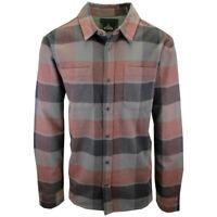 prAna Men's Charcoal Maroon Grey Plaid L/S Flannel Shirt (S02)