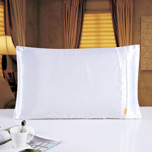 A Pair Of 25 Momme  Faux Silk Satin Charmeuse Pillowcase White Color One Pair