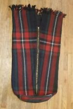 Vintage Snuggle Rug Wool Tartan Plaid Stadium Lap Zippered Sack Baby Blanket