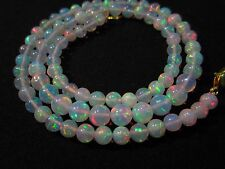 """57 Ct 17"""" Awesome Fire Play Natural Welo Ethiopian Opal Beads Necklace CJ36"""