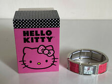 NEW! SANRIO HELLO KITTY SILVER MOTHER-OF-PEARL RHINESTONES CRYSTALS WATCH $55
