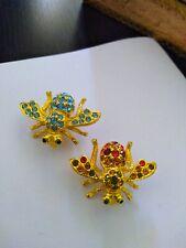 Vintage Joan Rivers crystal rhinestone bee pins/brooches (2)