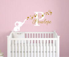 Elephant Name Wall Decal Personalized Name Sticker Baby Girl Nursery Decor F62