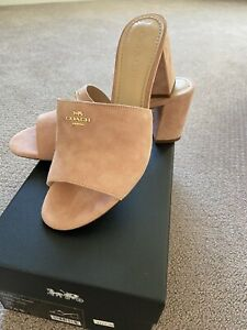 New 280. Coach Block Heel Pink Slip-On Women's Sandles Size 7.5