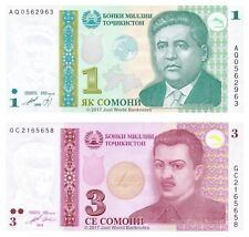 Tajikistan 1 + 3 Somoni 1999 (2010) Set of 2 Banknotes 2 PCS UNC