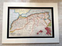 Antico Mappa Stampa Marocco Algeria Tunisia Tunisi Fez Arte Vintage