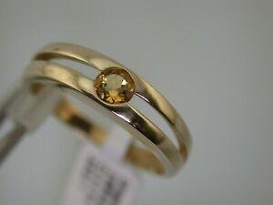 Gelbgoldring mit Citrin teils mattiert Gr.57 ungetragen aus Juwelierauflösung