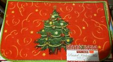 """PRINTED NYLON RUG,17""""x28"""", WINTER, DECORATED CHRISTMAS TREE ON RED, D shape, BH"""