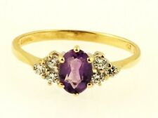 9Ct Yellow Gold Amethyst Solitaire & Simulated Diamond Accents Ring (Size S 1/2)