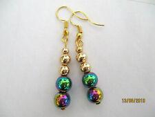 Ball Drop Dangle Earrings Natural Stone Multicolour Rainbow Hematite