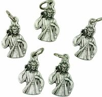 Lot of 5 Jesus Christ Divine Mercy 3/4 Inch Silver Tone Silhouette Medal