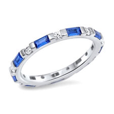 USA Seller Baguette Band Ring Sterling Silver 925 Jewelry Blue Sapphire Size 8