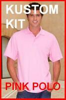 Mens Pink  cotton polo shirt Kustom Kit NEW Small Medium Large, IDEAL GIFT
