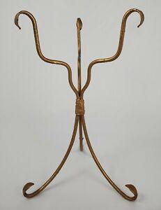 Vintage Plant Stand Pot Holder Gold Iron Hollywood Regency Mid-Century Modern