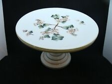 EAPG  Challinor Taylor Glass Co's Opaque White Decorated Cake Stand
