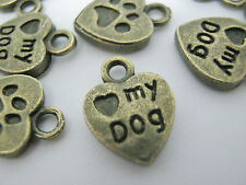 "10 Bronze Love my Dog Heart Charms Dog Tags 10mm (3/8"") Dog Collar Tags Labels"