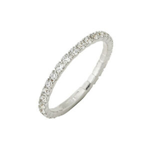 18 CT Eternity, Ring Engagement White Gold Zircons Swarovski Type Size 8 - 28