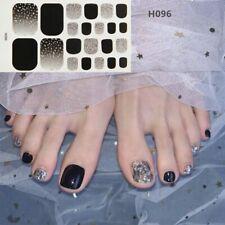 New Toe Nail Sticker Glitter Summer Style Flower Tips Manicure Full Toenail Art