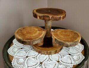 Rustic cupcake stand,log slab,handmade,centerpiece, wedding decor