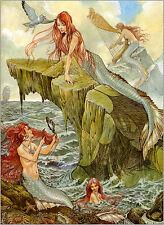 Home Decor ,QUALITY Canvas Print, Oil Painting mermaid,sea,girl 12X16
