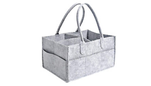 Baby Diaper Organizer Caddy Felt Changing Nappy Kids Storage Carrier Bag Grey UK