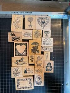 Vintage PSX Rubber Stamps lot of 21 mixed THEMED free USA ship mntd