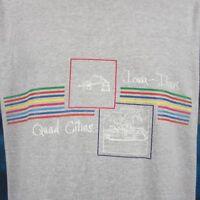 vintage 80s QUAD CITIES IOWA-ILLINOIS RAINBOW T-Shirt L davenport rock island