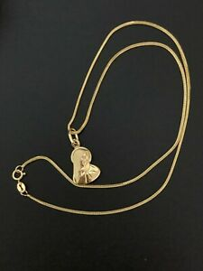 """18K Gold Chain Necklace 15.75"""" Saudi Gold w/Mother Mary Pendant"""