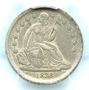 1838 No Drapery, Large Stars, Liberty Seated Dime, PCGS AU50
