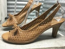 Aerosoles Vegan Leather Women Comfort Sandal Lattice Slingback Bow Peep-toe Sz10