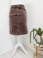 John Lewis Womens Size 12 Corduroy Skirt With Stretch Brown Taupe Pockets Split