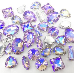 Mixed Shapes Sizes Crystal Light purple AB Rhinestone Setting Sew On Glass