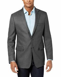 Calvin Klein Slim Fit Stretch Neat Sport Coat Gray Mens 44L 44 $295