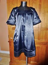 VERTIGO PARIS Glossy Satin Size XL Black Cocktail party Shift DRESS Pockets