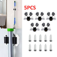5 Hooks Clip Mop Broom Holder Brush Handle Hanger Wall Mounted Storage Rack UK