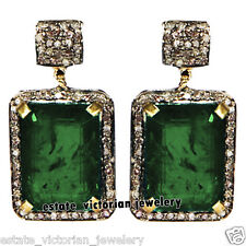 Emerald Studded Silver Earring Jewelry Estate Artdeco 2.92cts Pave Rose Diamond