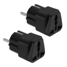 2PC US to EU Europe AC Power Plug Universal Travel Adapter Charger Converter