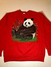 Panda Bear Sweatshirt Vintage 1990 Red Medium Made In USA EUC