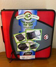 Case It Mighty Zip Tab 3 Ring Zipper Binder Expanding File Red Black New Elc