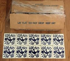 "Vintage Hand painted Azulejos Mexican Ceramic Tile 4.5"" blue & white 100 pieces"