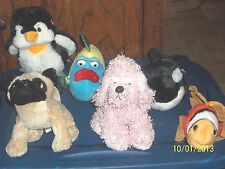GANZ WEBKINZ LOT OF 6 PLUSH ANIMALS NO CODES WHALE PENGUIN GOLD FISH PUG PUCKER