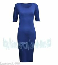 Womens Solid Party CLUB Wear to Work Tight Fit slimming Bodycon Midi Dress (2XL)