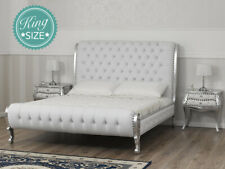 Lit double King size Ola style Baroque Moderne feuille argent similicuir blanc b
