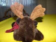 Russ GUSTO Plush Moose  Scarf Stuffed Animal Winters Country Home Poseable Horns