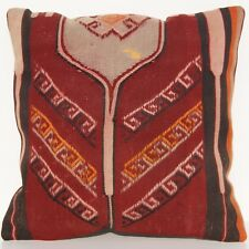 "18"" Same Old Pillow Covers Turkish Case Hand Woven Red Square Wool Area Rug 30+"