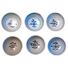 Set of 6 Anamese Hoi An hoard blue and white ceramic bowls circa 1500
