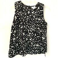 CAbi Dixon Tank Top Womens Medium Black White Sleeveless Blouse