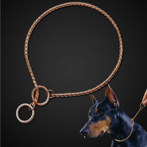 Rose Gold Pet P Choke Dog Training Show Collar Chain Slip Collar for Large Dogs