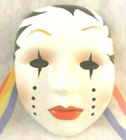 Vintage 1980 Wall Art Clown Mask with tear drops Glazed Clay Ceramic wall plaque